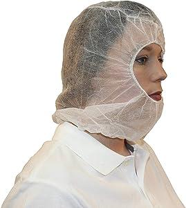 ZMDREAM Disposable Hoods Bouffant Caps Polypropylene Hair Net Beard Cover Combo White(Pack of 100)