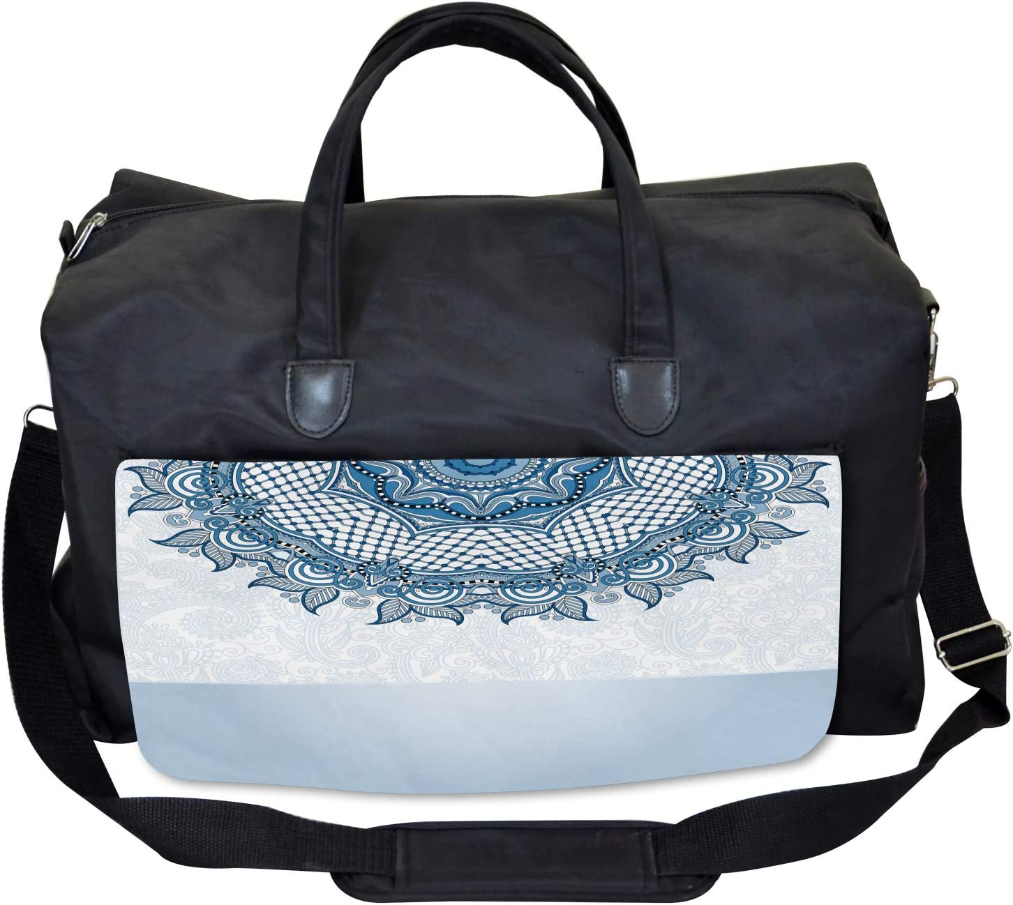 Ambesonne Vintage Gym Bag Large Weekender Carry-on Ethnic Lace Details