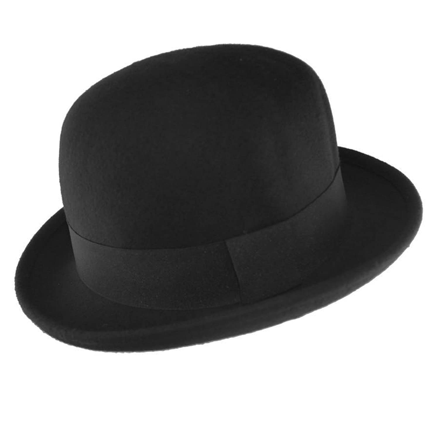 Black 100/% Wool Soft Crushable Bowler Hat 4 Sizes