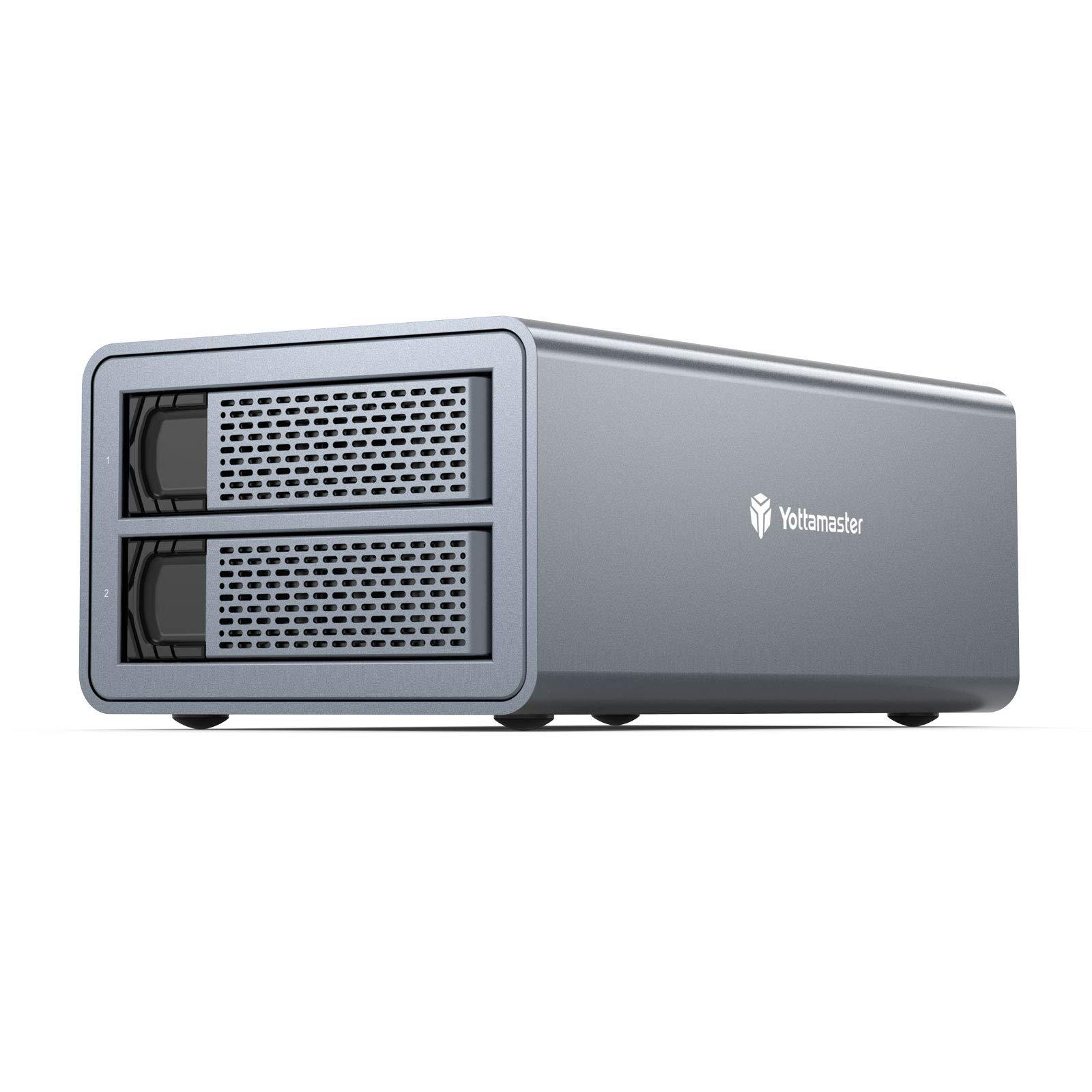 Yottamaster Aluminum Alloy 2 Bay 2.5 USB3.0 Hard Drive RAID Enclosure for 2.5 Inch SSD//HDD Silver