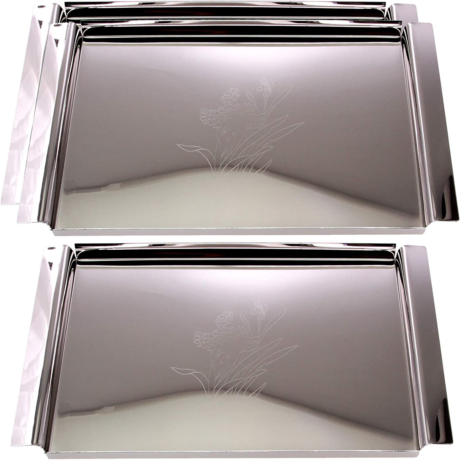 Maro Megastore (Pack of 3) 16.3 Inch x 9.3 Inch Rectangular Chrome Plated Serving Tray with Handle Floral Engraved Vintage Classic Design Mirror Plate Platter Holiday Wedding Buffet Food Event CC-414