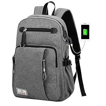 d35927dd93e37 Mioy Schulrucksack groß Herren Slim Business Laptop Backpack Leinwand  Schulranzen wasserdicht College Schultasche 15.6