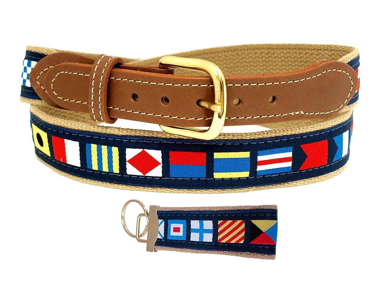 Nautical Code Flag Belt on Khaki Web with FREE Keychain