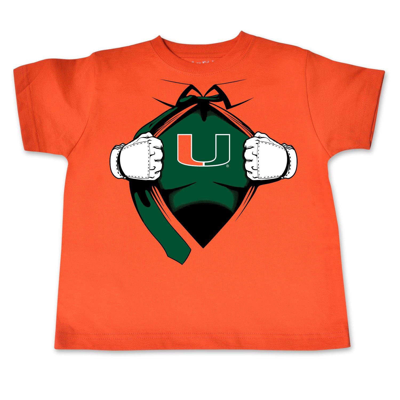 2 Orange College Kids NCAA Miami Hurricanes Children Short Sleeve Toddler Tee Superhero Sports Fan T Shirt