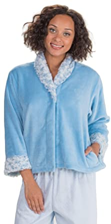 bed mandarin blue fleece serene jacket collar la snuggle comfort cera jackets b floral