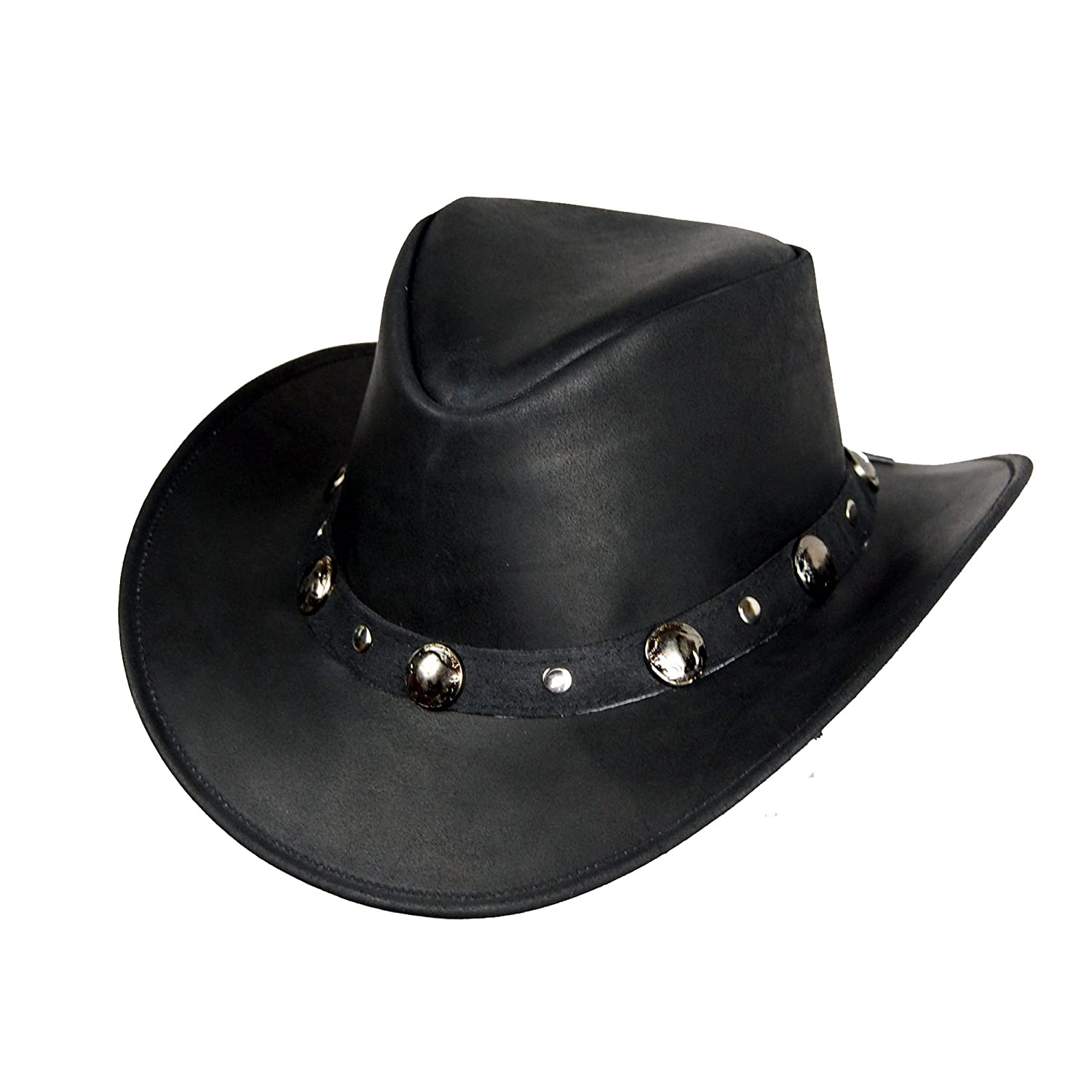Lesa Collection COWBOY WESTERN STYLE LEATHER HAT BLACK QUALITY LEATHER HAT