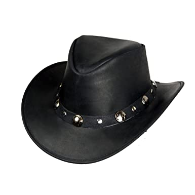 COWBOY WESTERN STYLE LEATHER HAT BLACK QUALITY LEATHER HAT (S (55-56 CM 9ed208203a9a