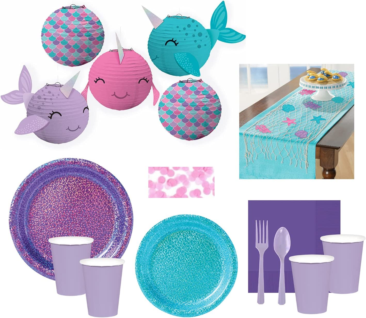 Includes Plates Paper Lanterns and Confetti Narwhal Party Supplies and Decoration Set for 16 Guests Cups Cutlery Net Tablecover Napkins