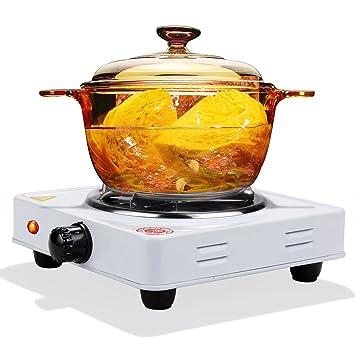 Qulista Hornillo Eléctrico Portátil Cocina Eléctrica para Cachimba Carbón Placa Eléctrica 1000W Hornillo de mesa Electric Hot Plate (Blanco): Amazon.es: ...