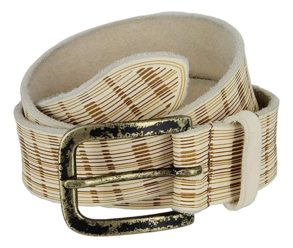 Pele Belt Men Full Grain Italian Leather Laser Engraved Stripes Rustic Buckle,Cream 40