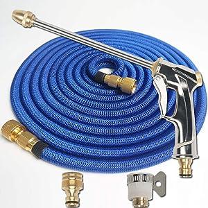 Yourshops 3 Times Magical Garden Hoses High Pressure Car Wash Gun Home Use TPE Material 1Set (Blue, 75FT)