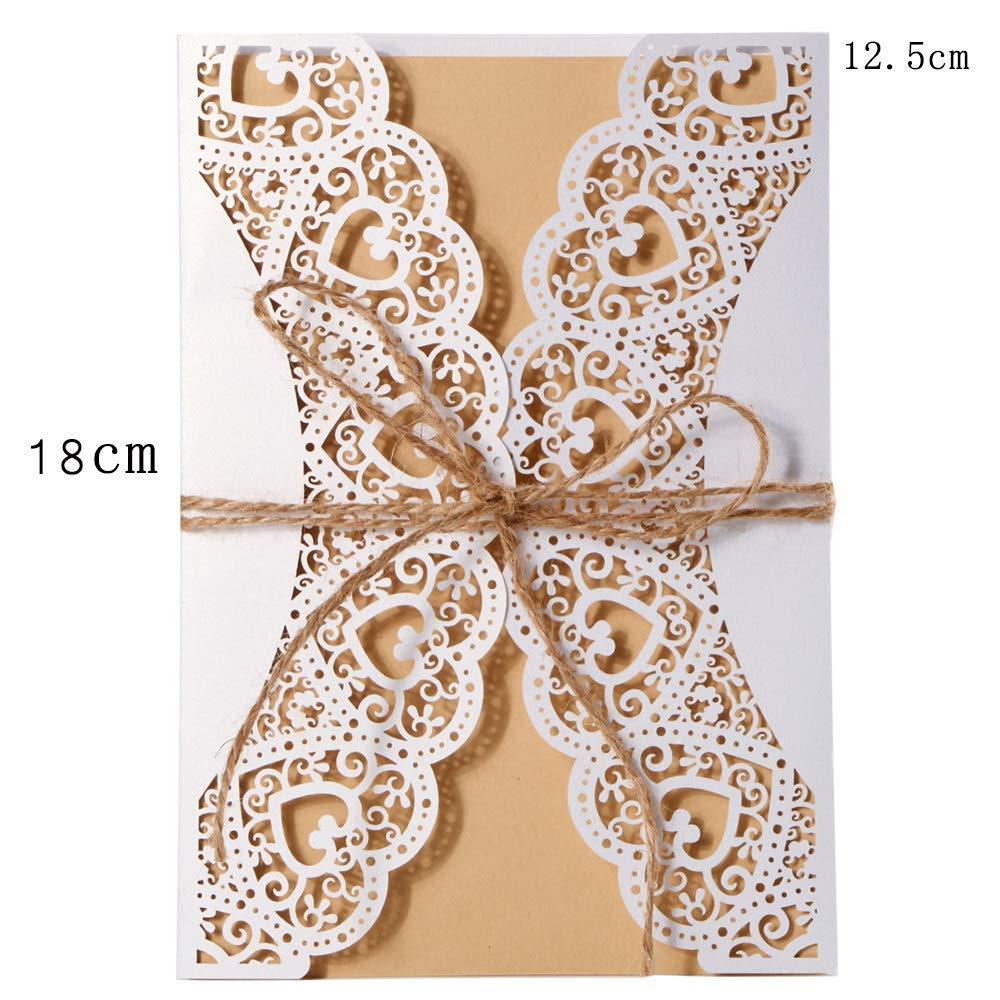 Anniversaire Douche de mari/ée bapt/ême LONGBLE Lot de 20 Cartes dinvitation de Mariage avec Corde de Chanvre et enveloppes pour Anniversaire de Mariage