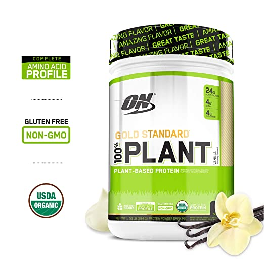 OPTIMUM NUTRITION GOLD STANDARD 100% Organic Plant Based Vegan Protein Powder, Vanilla, 1.51 Pound best vegan protein powder