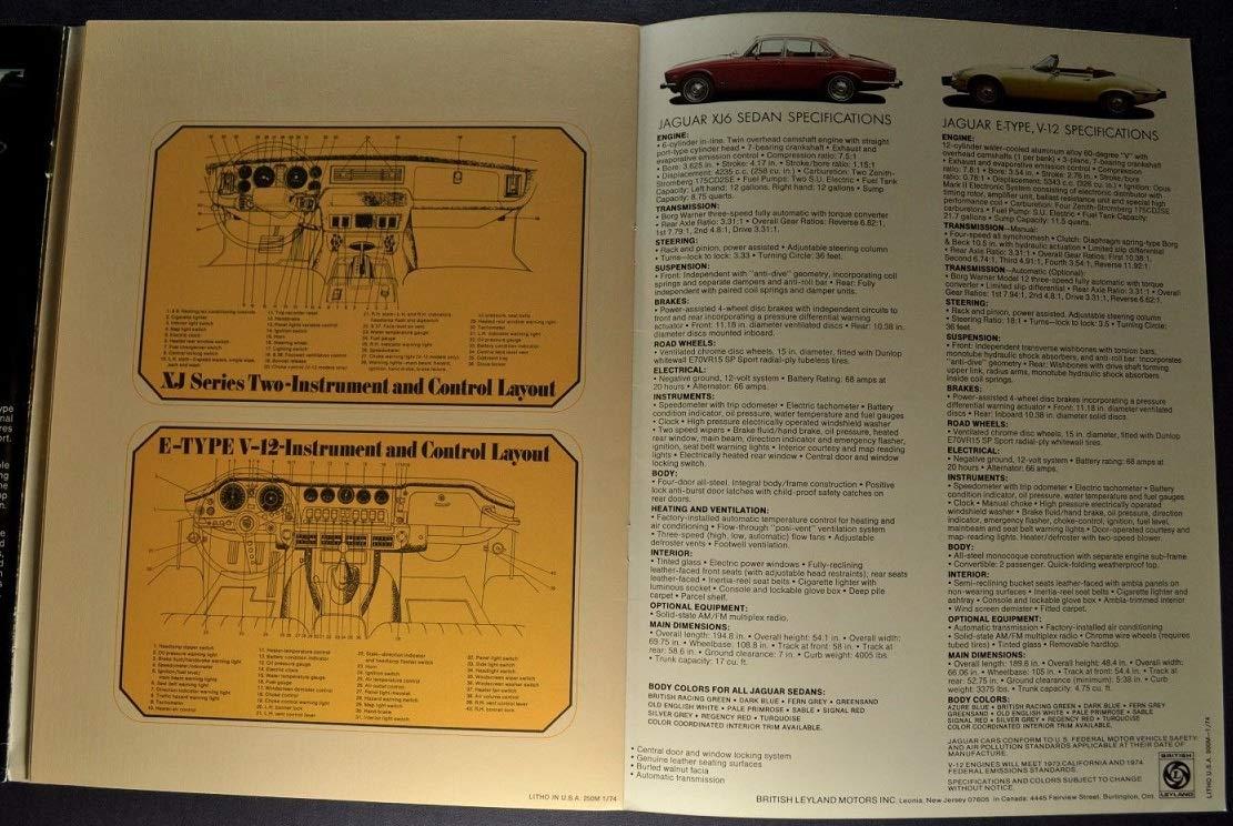 Vintage 1974 Jaguar E-Type XJ12C XJ12L XJ6 Brochure Specifications