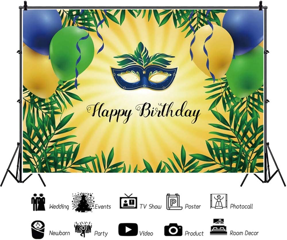 Yeele 10x8ft Masquerade Theme Backdrop Kids Adults Birthday Party Eye Mask Photography Background Cake Smash Dessert Table Decoration Banner Photo Booth Digital Wallpaper