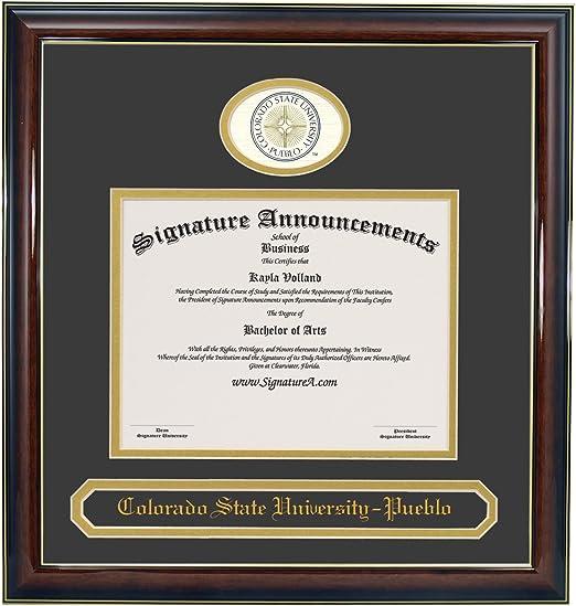 Signature Announcements Colorado-State-University-Pueblo Undergraduate Professional//Doctor Sculpted Foil Seal /& Name Graduation Diploma Frame 16 x 16 Matte Mahogany