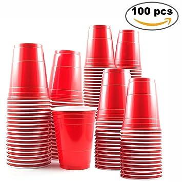 100 Vasos Rojos Desechables De 16oz Accesorio De Fiesta Para