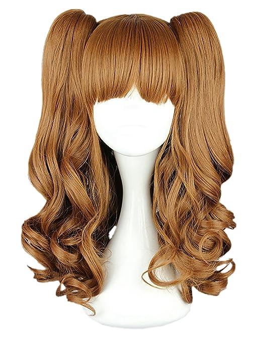 CLOCOLOR Halloween Cosplay Peluca de Dos Colas de Caballo Peinado para Mujer Chica Peluca de Pelo