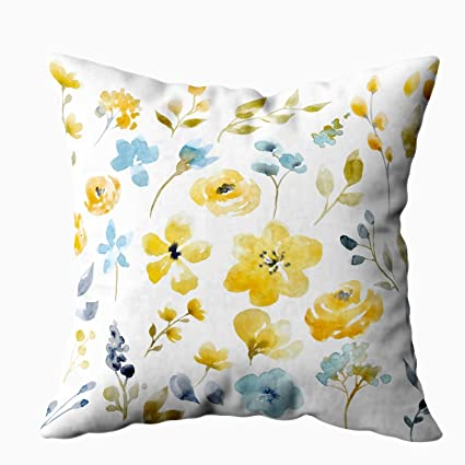 Peachy Capsceoll Bed Pillow Covers Watercolor Bright Summer Floral Set Yellow Abstract Flowers Leaves And Sofa Throw Pillows Case Covers Home Decoration Unemploymentrelief Wooden Chair Designs For Living Room Unemploymentrelieforg