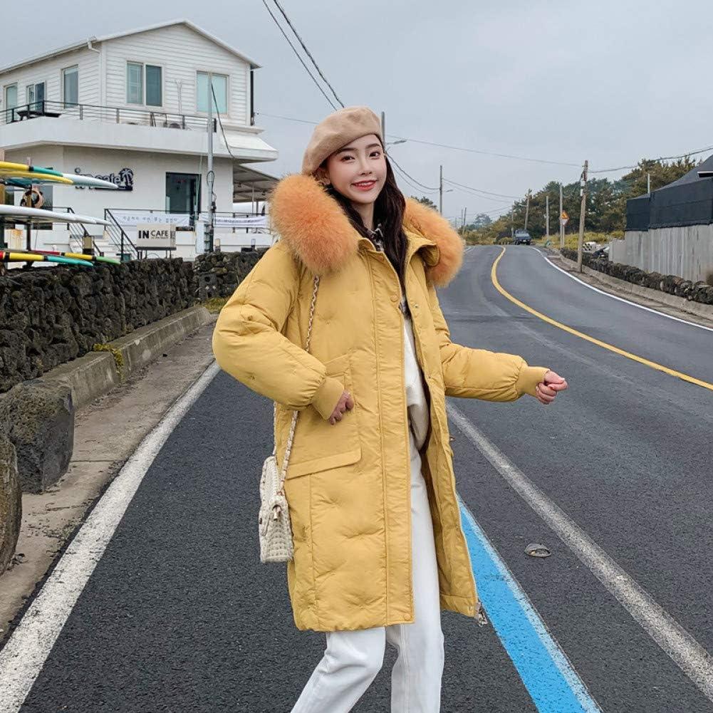 XIAOJIE Manteau de Coton des Femmes Plus Size Winter Women Jacket Coat Big Fur Hooded Warm Winter Parka Jackets Long Thicken Cotton Mujer M