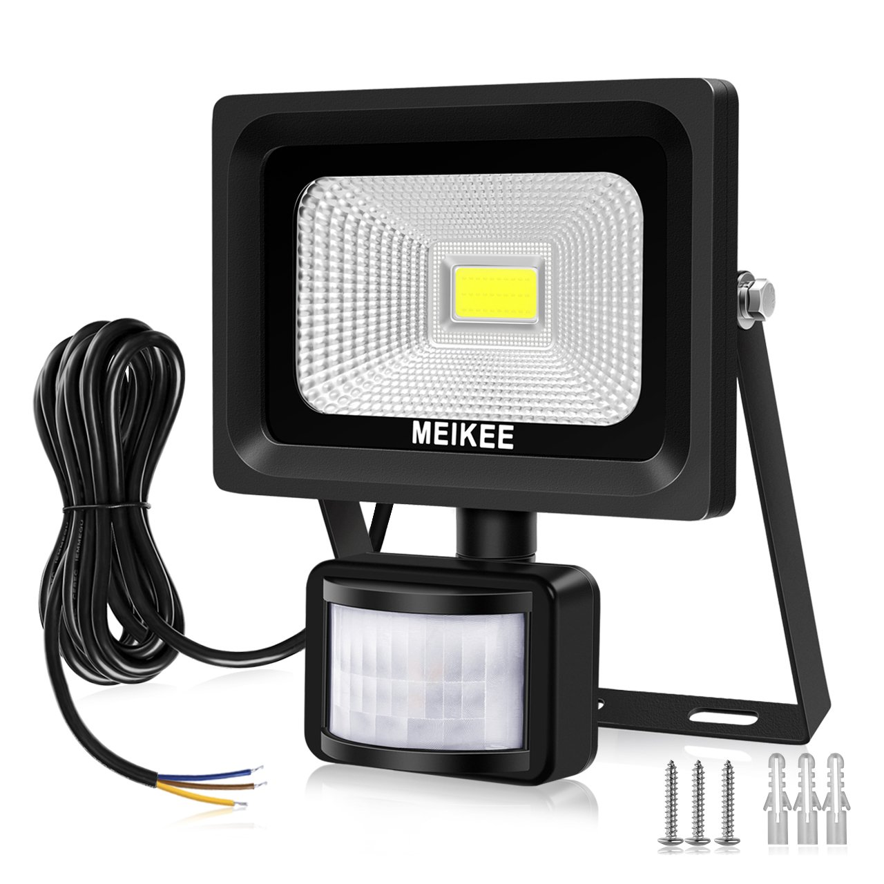 MEIKEE Security Lights with Motion Sensor, 10w Led Sensor Outdoor light, IP66 Waterproof Security Lighting, High Output 1000lumen, Super Bright LED PIR Floodlight, Ideal for Garden, Car park, Hotel and Forecourt, Daylight White [Energy Class A++]