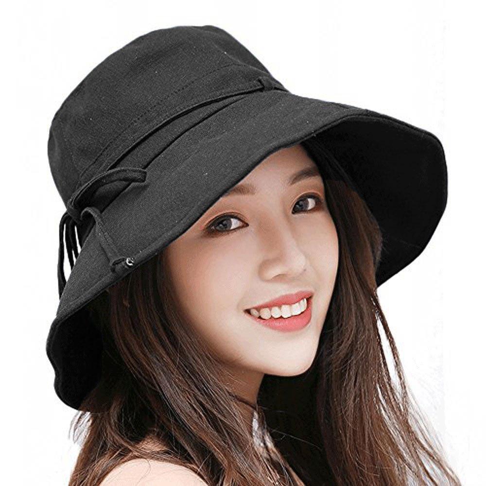 Summer Beach Sun Hat Anti-UV UPF 50+ Foldable Wide Brim Bucket Hat with Neck Cord for Women (Black)