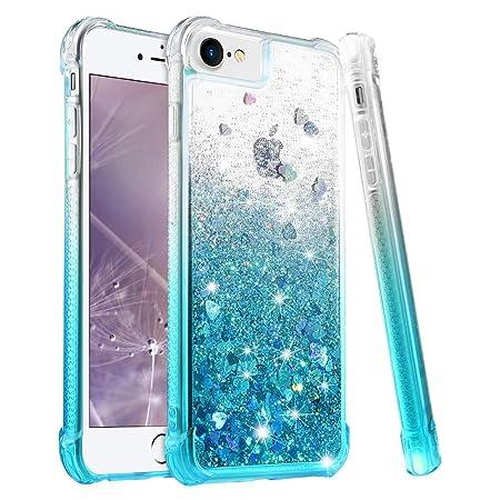 wlooo Handyhülle iPhone 8 Glitzer Hülle, iPhone 6s Hülle, Flüssig Treibsand Glitter Quicksand Gradient Weich Silikon TPU Bump