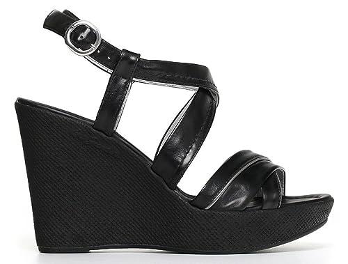 Sandali NeroGiardini P805670D 100 5670 zeppa donna in pelle nera