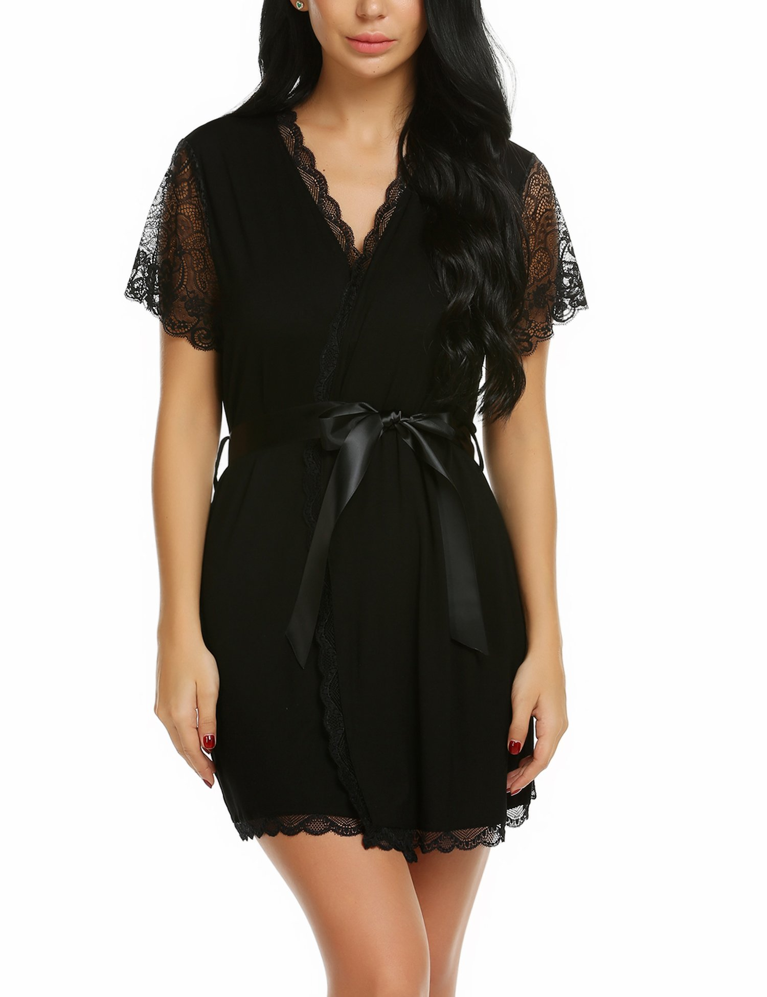 wearella Women Modal Sleepwear Lace Trim Robe Sexy Chemise Floral Nightgown V Neck Babydoll Short Style with Oblique V-Neck Robe
