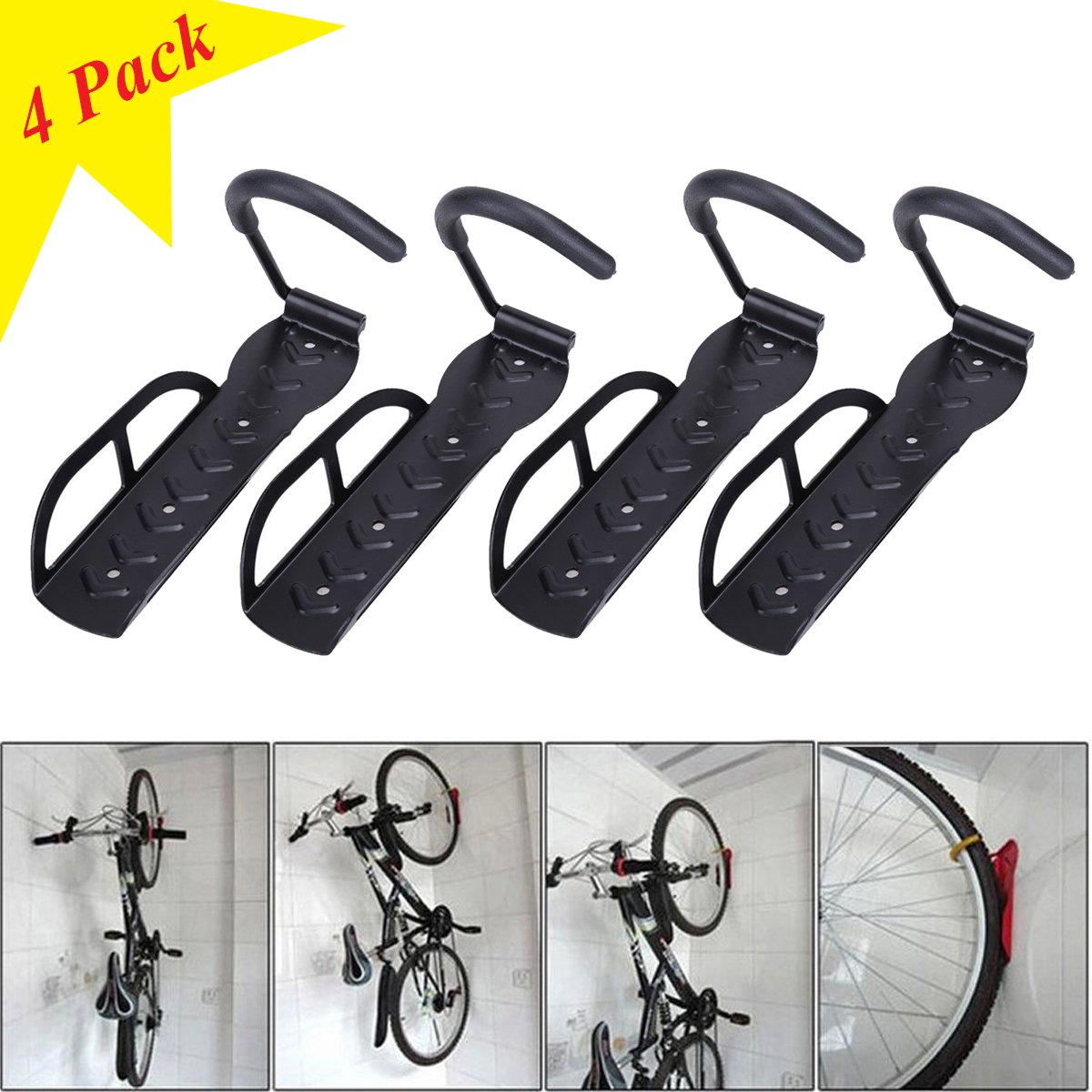 4 Bicycle Wall Mount Hook Hanger Garage Bike Storage Steel Holder Rack Stand Steel by TF-Godung (Image #7)