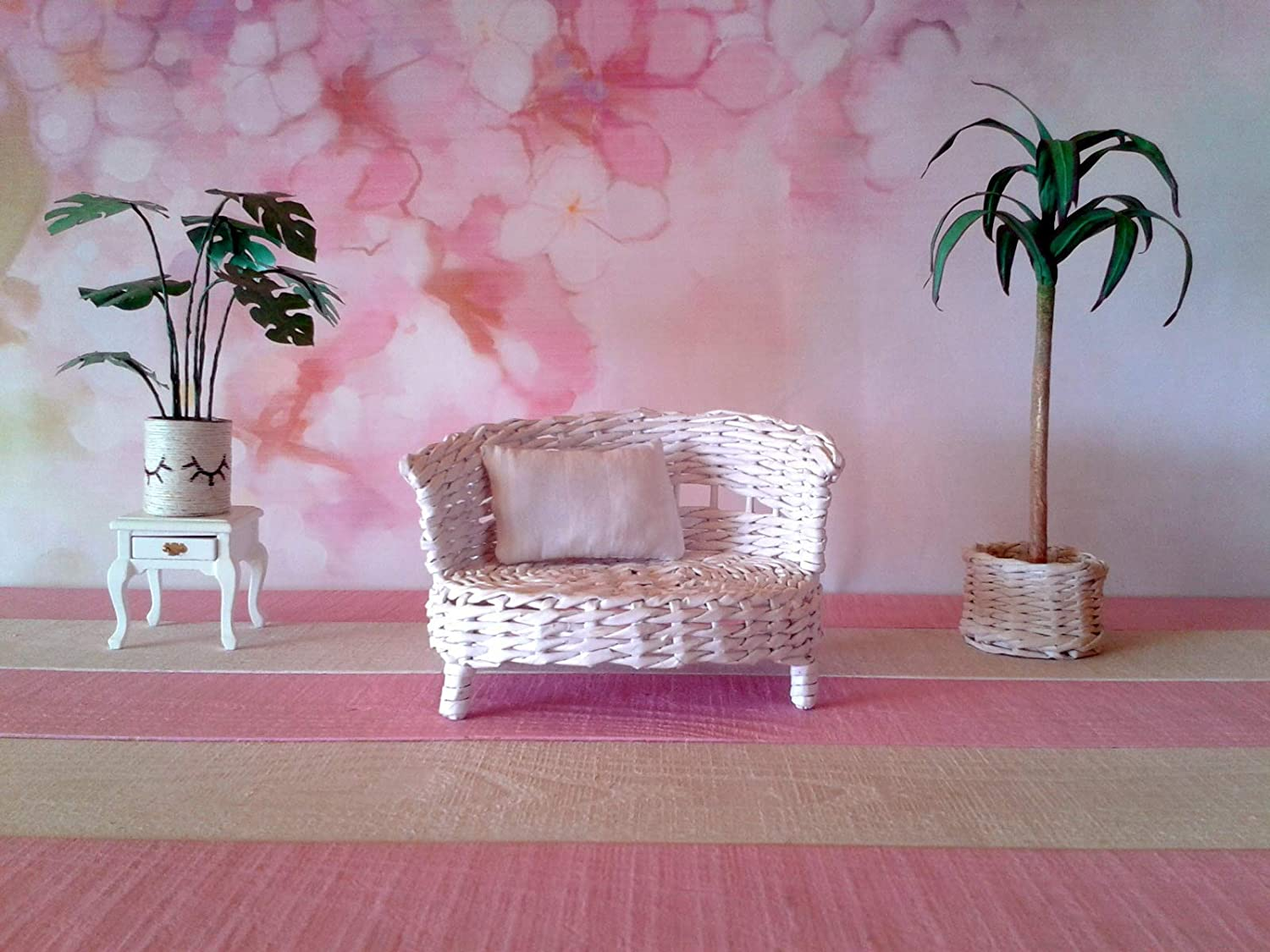 or 6-inch dolls and dollhouses Lati Yellow couch Miniature handmade white wicker sofa for 1//8 scale