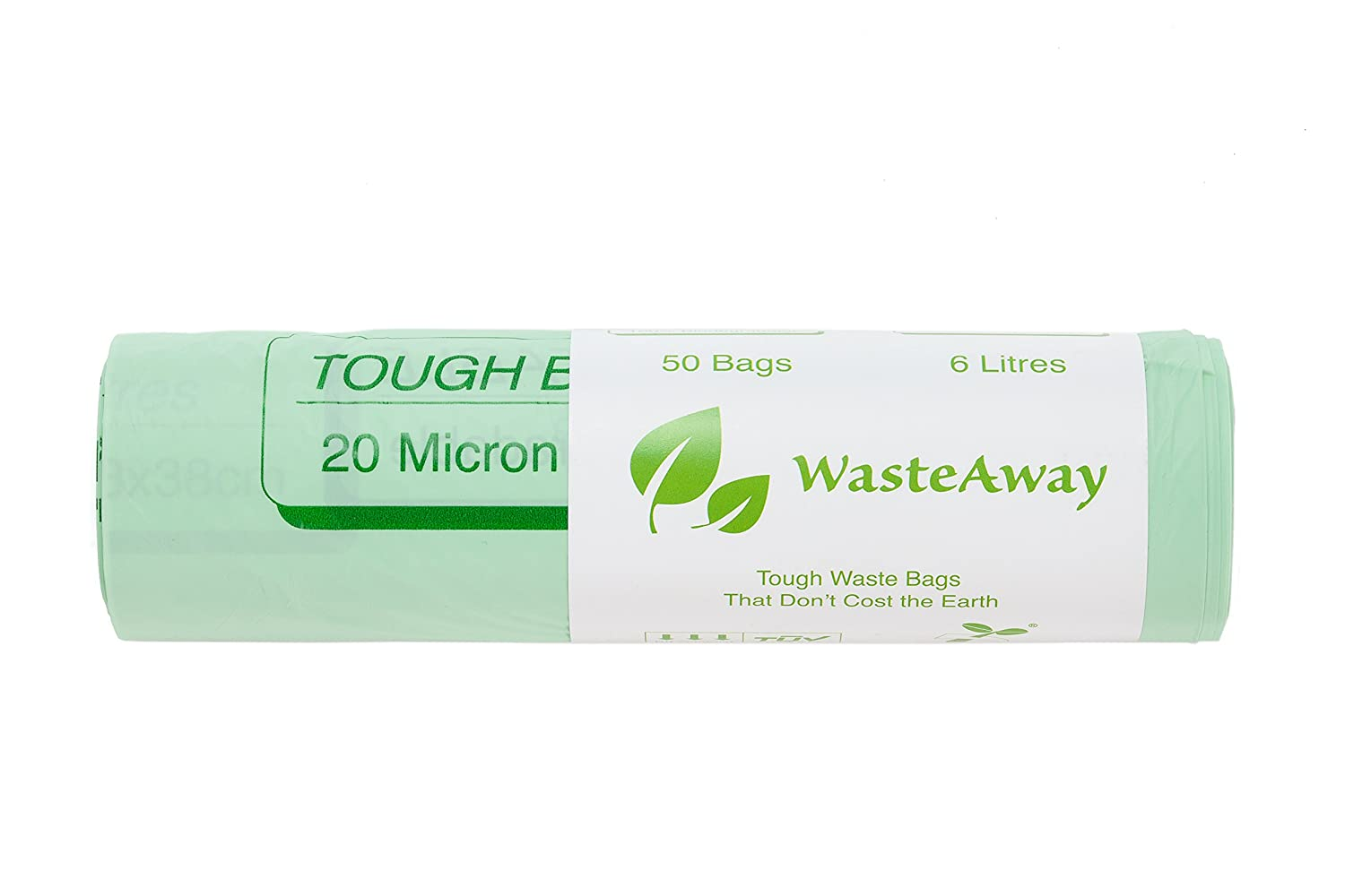 WasteAway Bio Bags - 6 Litre Compostable, Biodegradable Kitchen Bin Liners - Compost Bin Bags for Food Waste - 50 Bags - 20 Micron Thick Kayar Life