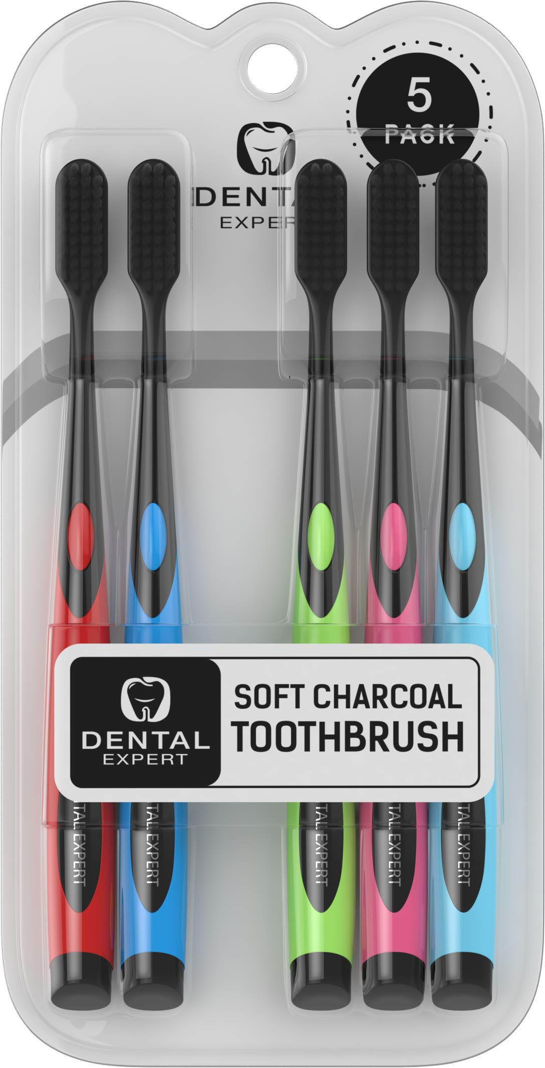 5 Pack Colorful Charcoal Toothbrush [GENTLE SOFT] Slim Teeth Head Whitening Brush for Adults & Children [FAMILY PACK] - Ultra Soft Medium Tip Bristles