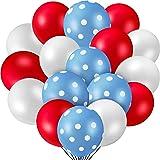 55 Pieces Party Balloon Polka Dot Latex Balloons, Includes 20 Pieces Red Balloons 20 Pieces White Balloons and 15 Pieces Blue