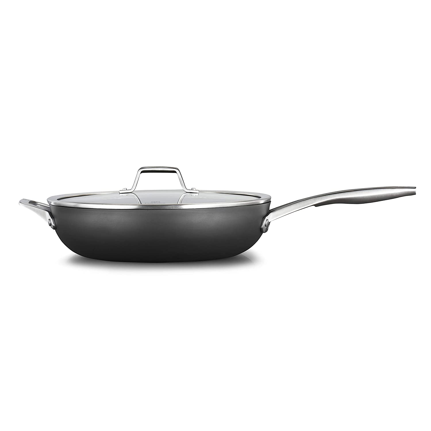 Calphalon 2029650 Premier Hard-Anodized Nonstick 13-Inch Deep Skillet with Cover, Black