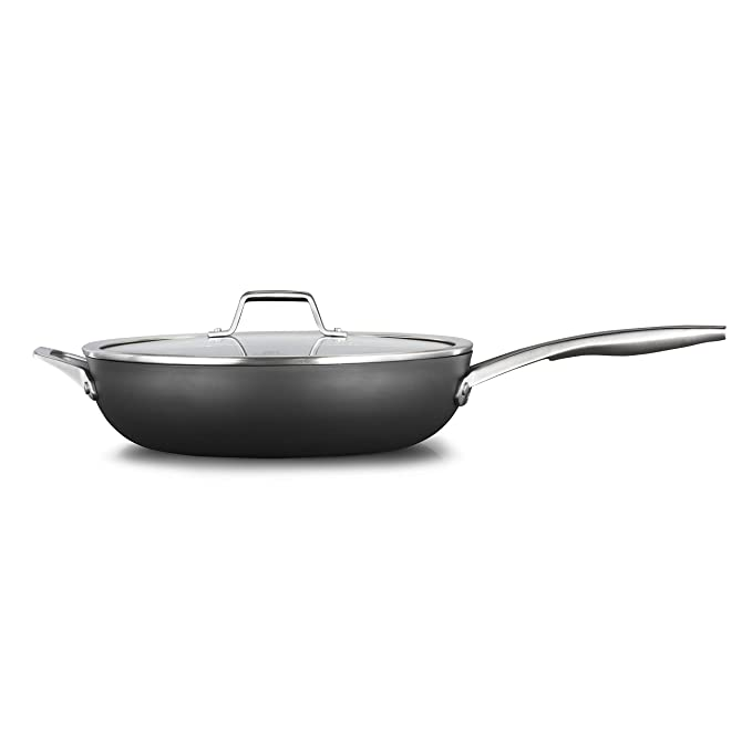 Calphalon 2029650 Premier Hard-Anodized Nonstick 13-Inch Deep Skillet with Cover, Black best nonstick skillet