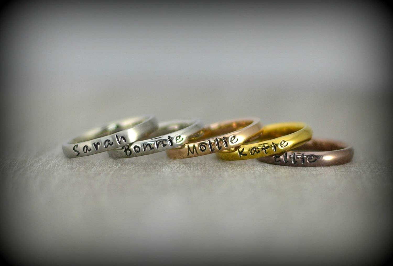 Amazon.com: Personalized Stackable Name Ring - Stacking Rings ...
