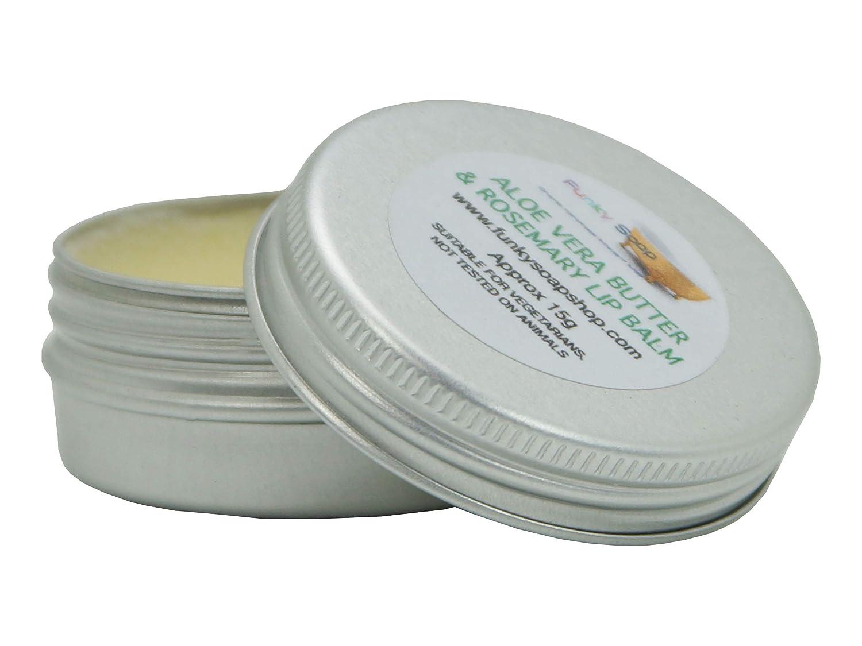 Handcrafted Aloe Vera Butter & Rosemary Lip Balm, 1 tin of 15g
