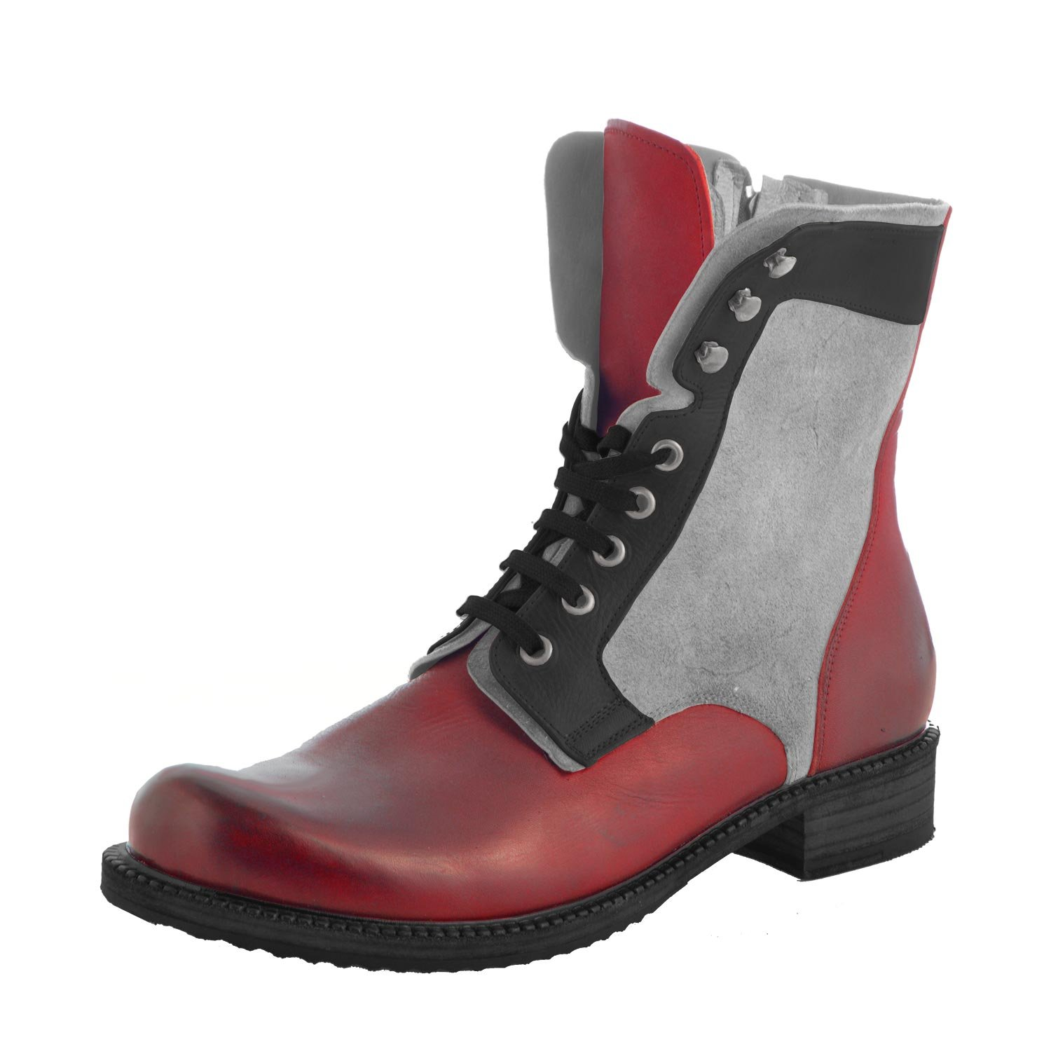 Genuine Leather and Suede High Top Men's Boots Red/Black/Gray - Badlands By Kristoff