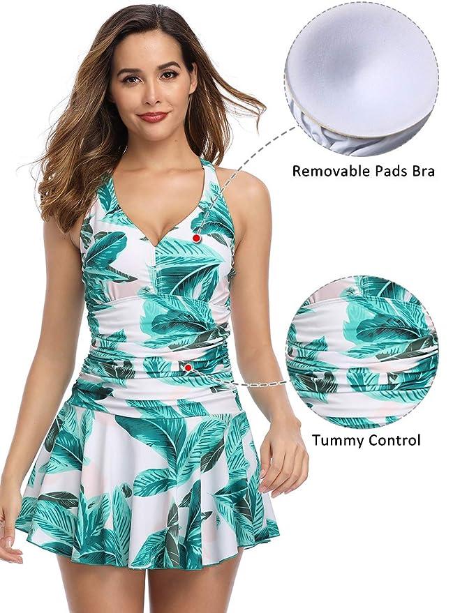 27d36f52cb Summer Mae Maillot de Bain Robe Femme 1 Pièce Jupette Grande Taille Imprimé  Fleur Moulant: Amazon.fr: Vêtements et accessoires