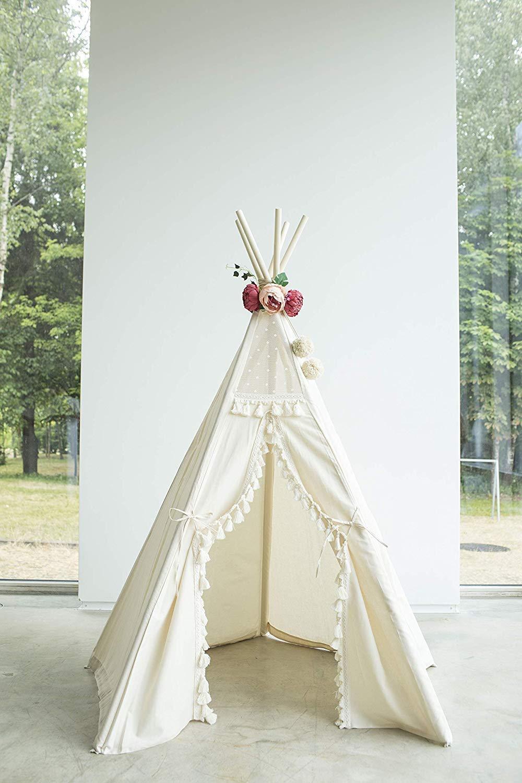 Boho style kids tipi, childrens teepee tent, kids teepee tent, play tent, teepee for kids, beige color playhouse 100% handmade! by MINICAMP (Image #4)