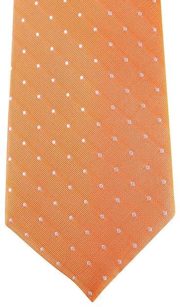 David Van Hagen Naranja/blanco manchado corbata: Amazon.es ...