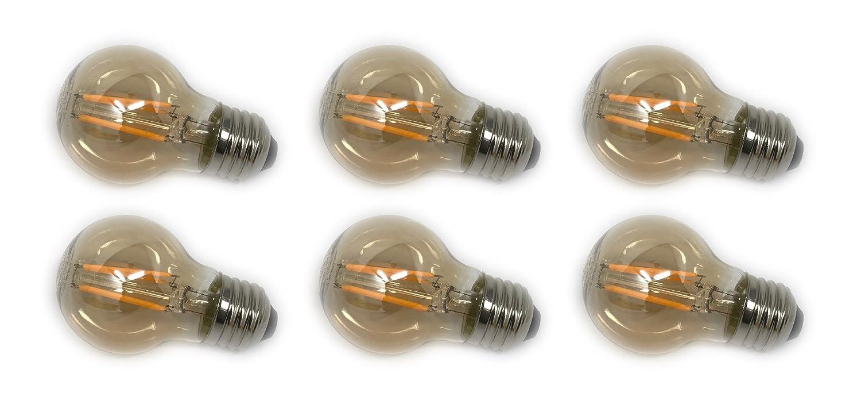 Lighting Science G16.5 アンバーグローブ 40W相当 調光可能 エジソンフィラメント ヴィンテージ E26 並形口金 装飾アンティークスタイル 2200K 6個パック   B07F45YM2Z