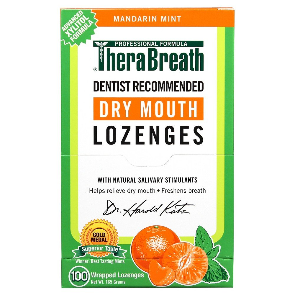 TheraBreath Dentist Recommended Dry Mouth Lozenges, Sugar Free, Mandarin Mint Flavor (400-Count)