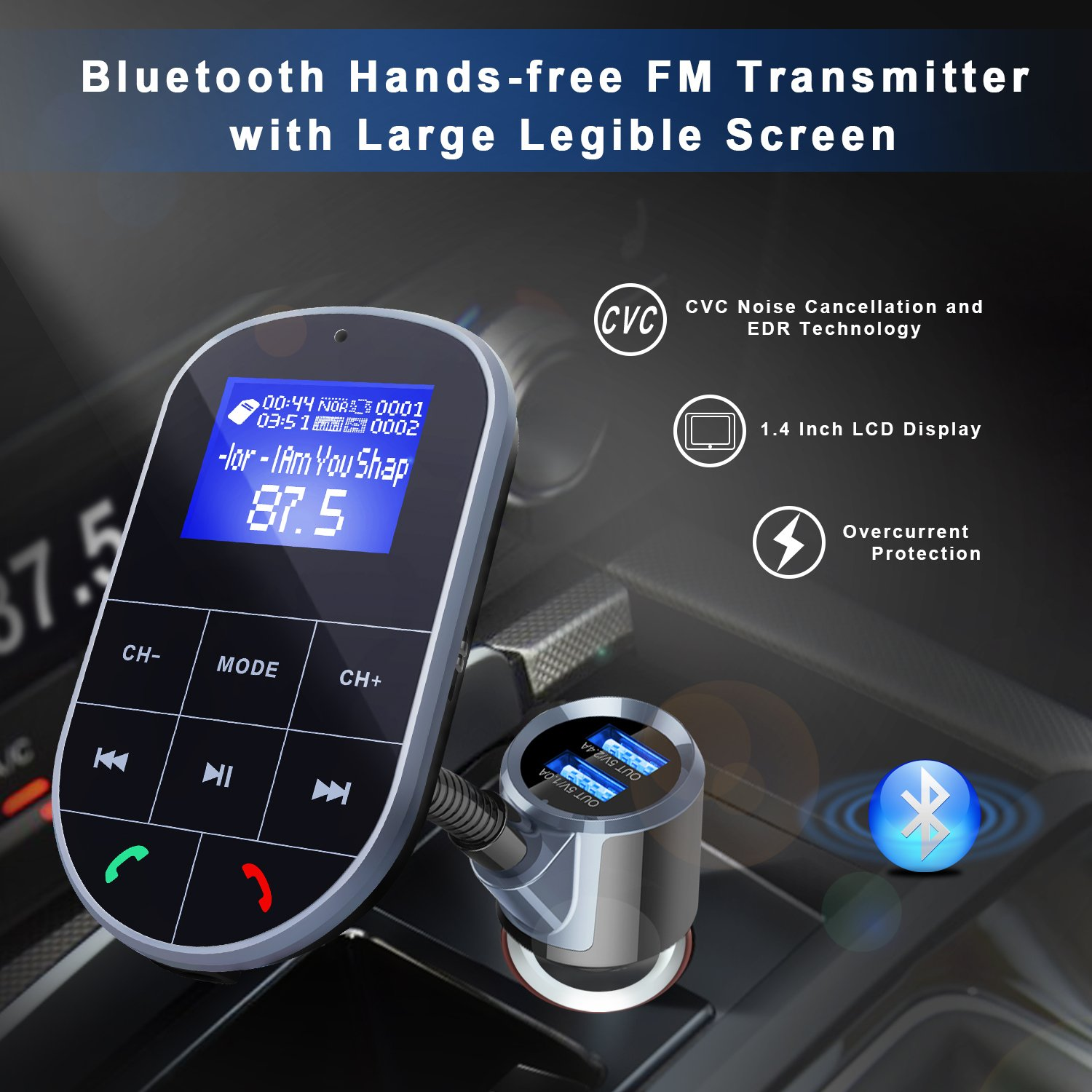 Bluetooth FM Transmitter For Car, Wireless Bluetooth FM Radio Adapter 2 Ports USB Car Charger 5V/2.4A&1A with Hands-Free Calling, Micro SD Card Aux Output by IMDEN (Image #7)