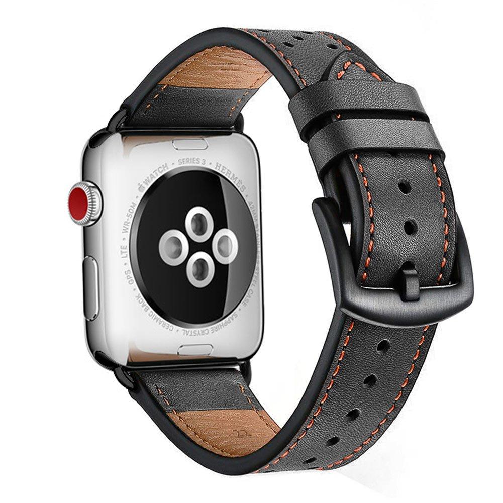 Zeiger Apple Watchバンドブラウンレザー交換用バンドストラップby Zeigerクラシックドレスバンドシリーズ1 2 3 42 38 mmメンズレディース 42mm Black ブラック 42mm Black ブラック ブラック 42mm Black B075R6X21X