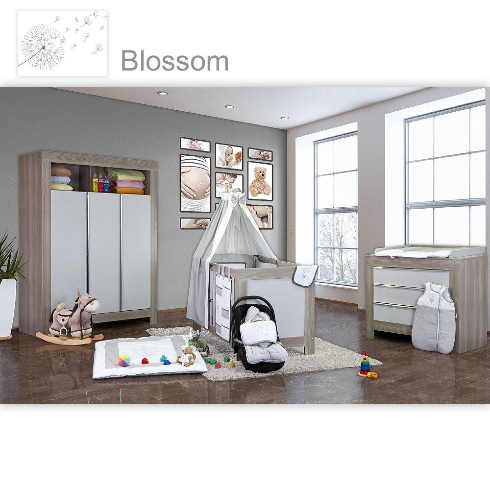 Babyzimmer Felix in akaziengrau 21 tlg. mit 3 türigem Kl. + Blossom in  Weiß/Grau