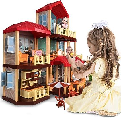 DIY Dollhouse Wooden Miniature Furniture Kit w//LED Light Girls Dream House Gifts