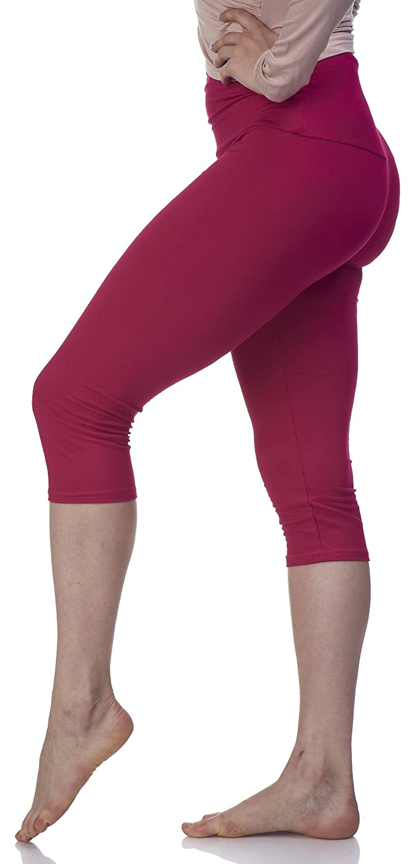- Lush Moda Womens Basic Capri Leggings with Yoga Waist- Extra Soft and Variety of Colors - Magenta