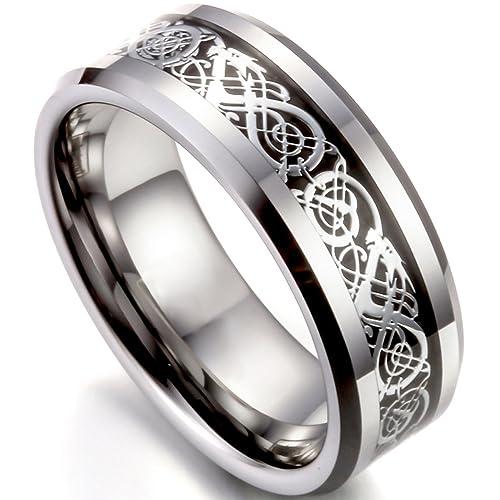 Wolframcarbid Ring Band Irish Celtic Knot Irischen Keltisch Knoten Drachen 8 mm